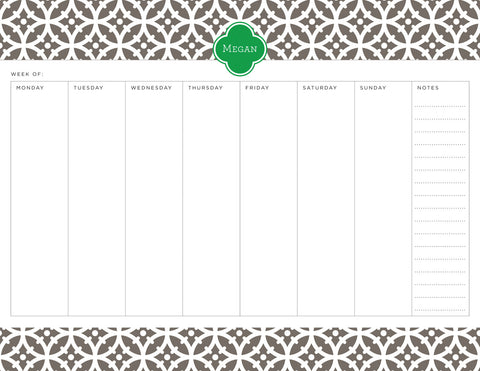 Smoke Bloom Personalized Weekly Planner Pad