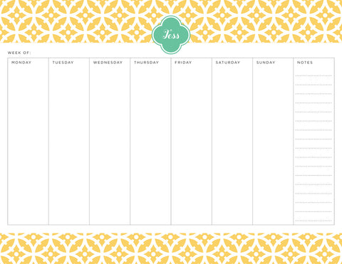 Lemon Bloom Personalized Weekly Planner Pad