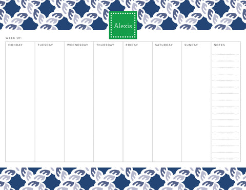 Navy Nautical Personalized Weekly Planner Pad