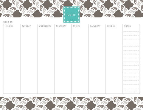 Smoke Nautical Personalized Weekly Planner Pad