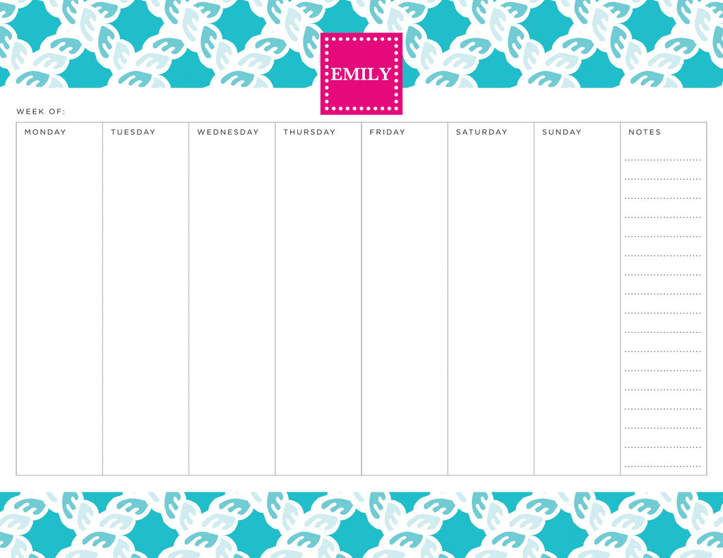 Nautical Blue Nautical Personalized Weekly Planner Pad
