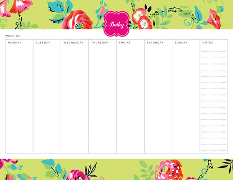 Green Peyton Personalized Weekly Planner Pad
