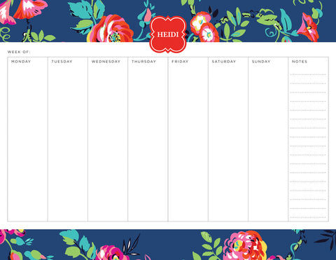 Navy Peyton Personalized Weekly Planner Pad