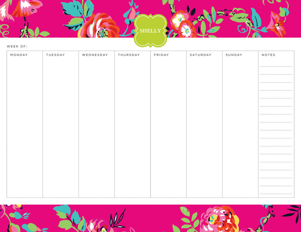 Bright Pink Peyton Personalized Weekly Planner Pad