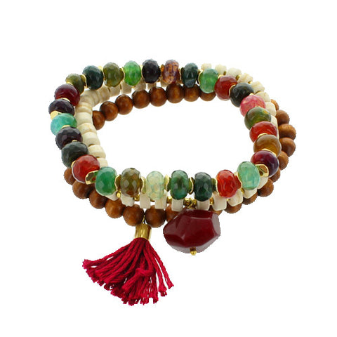 Sasha Bracelets - Wood Beads w/ tassel, set of 3.