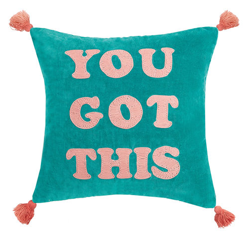 """You Got This"" Velvet Tassel Pillow"
