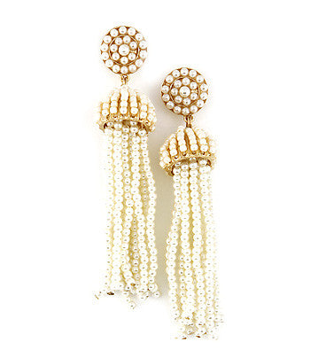Beaded Fringe Tassel Earrings - Cream