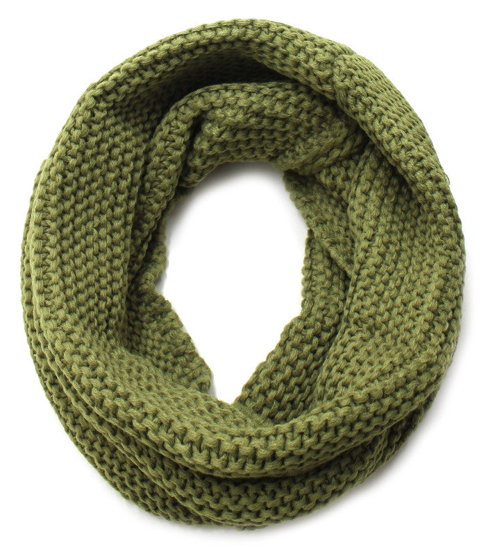 Knit Infinity Scarf - Olive