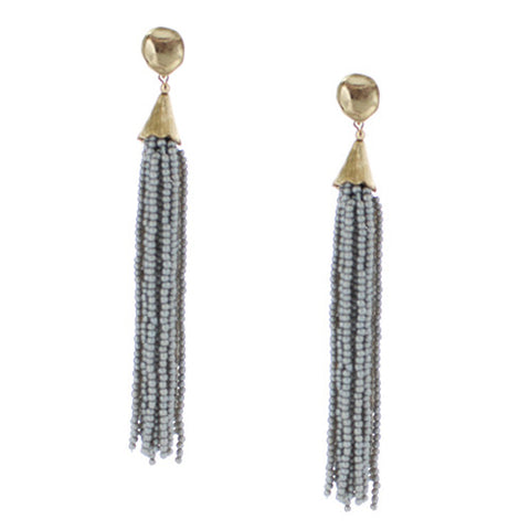 Pixi Beaded Fringe Tassel Earrings - Light Gray