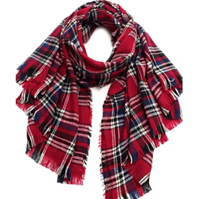Plaid Blanket Scarf - Red