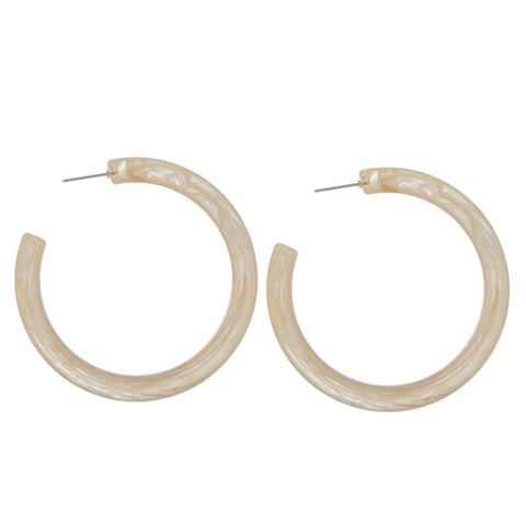 Jennie Acetate Hoop Earrings - Natural