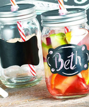 Mason Jar Glasses with Chalkboard - Set of 4