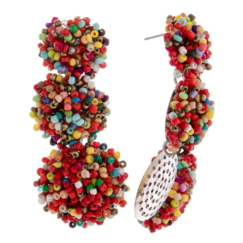 Shakira Beaded Ball Earrings - Multi