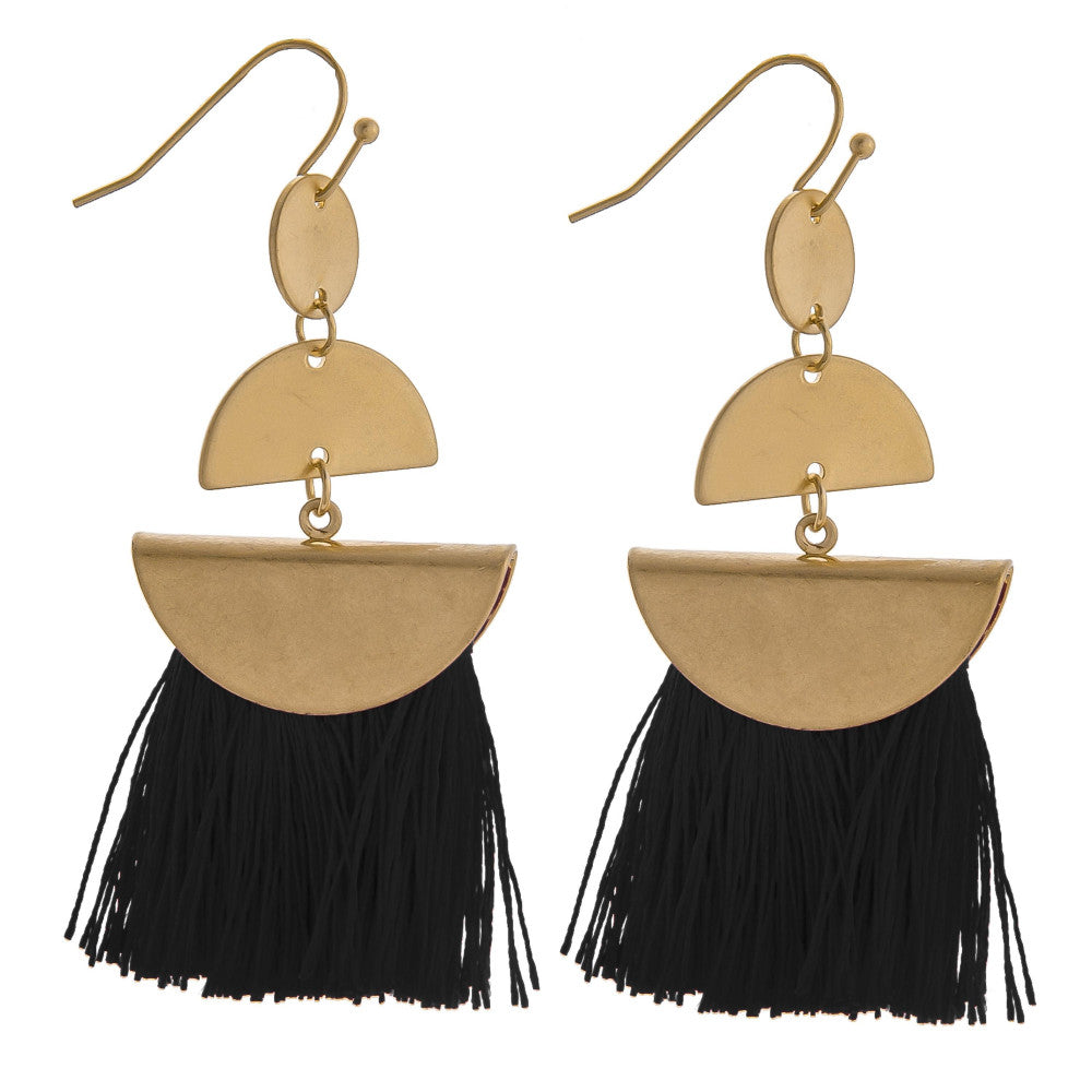 Mary Fringe Tassel Earrings - Black