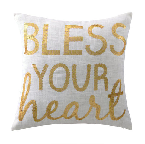 Bless Your Heart Sequin Pillow