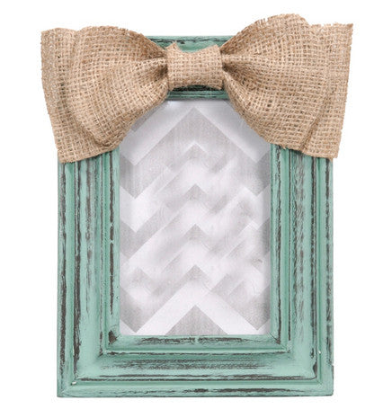 Burlap Bow Picture Frame - Turquoise