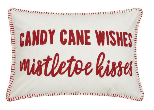 Candy Cane Wishes & Mistletoe Kisses Velvet Pillow