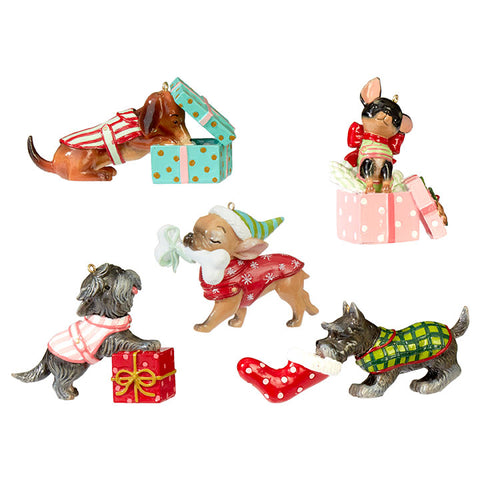 Stone Painted Dog Ornaments - Set of 5