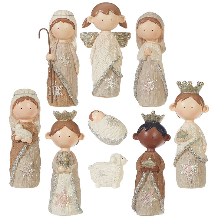 "4.5"" Faux Knit Nativity"