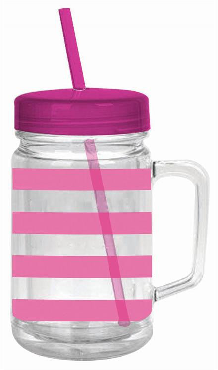 Pink Stripe Double Wall Mason Tumbler