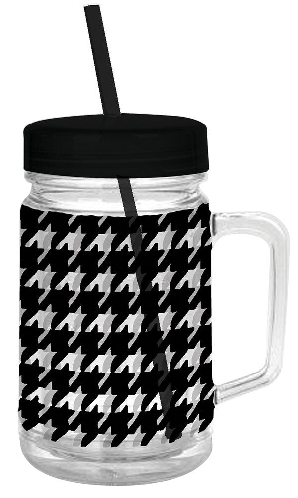 Black Houndstooth Double Wall MasonTumbler