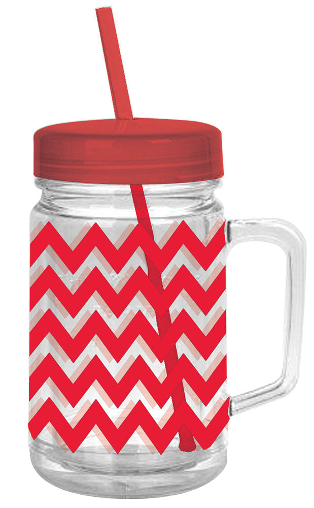 Red Chevron Double Wall Mason Tumbler