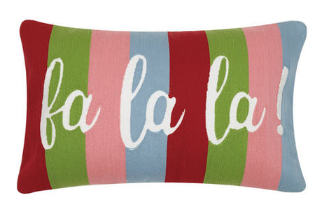 "Bright Striped ""Fa La La La"" Pillow"