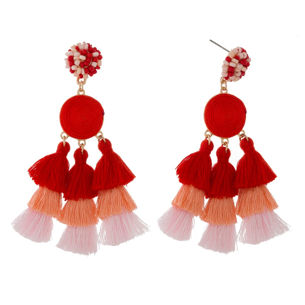 Tessa Fringe Tassel Tiered Earrings - Pink/Red