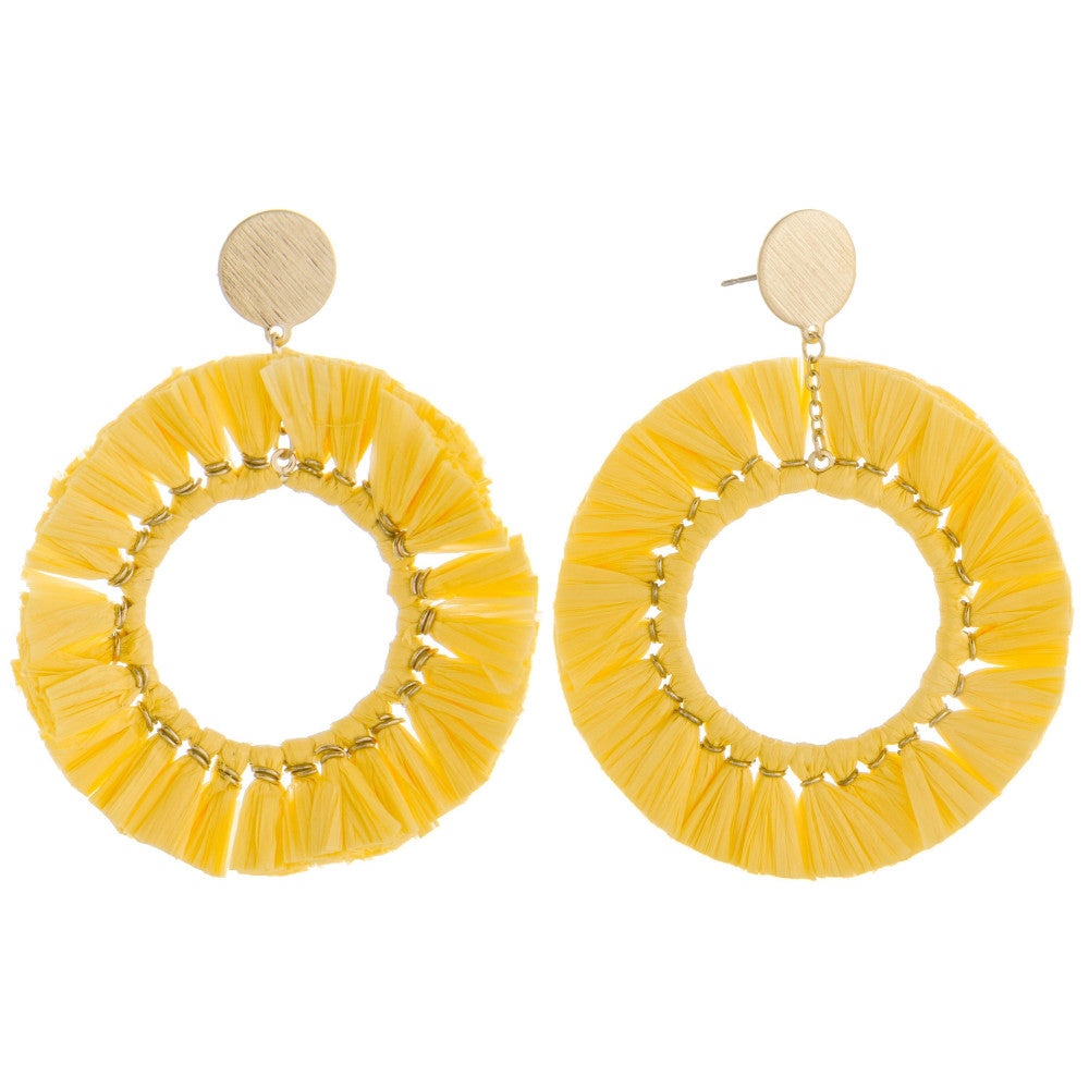 Lolli Tassel Round Earrings - Yellow