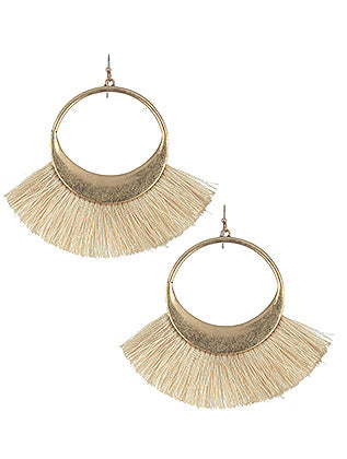 Libby Fringe Hoop Earrings - Cream