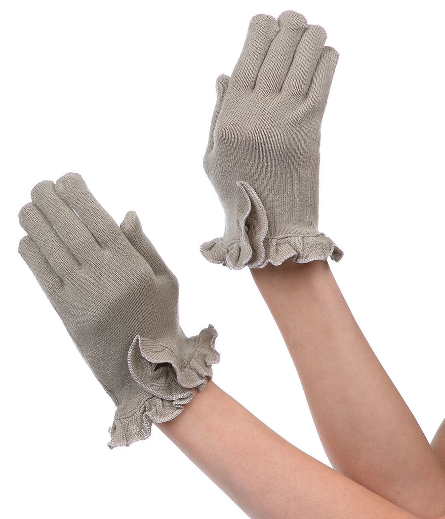 Ruffle Smart Media Gloves - Oatmeal & Ruby Red