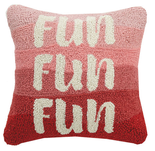 Fun, Fun, Fun Pink & Red Hook Pillow