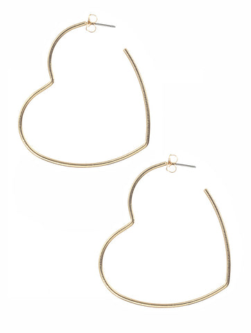 Heart Hoop Earrings - Gold