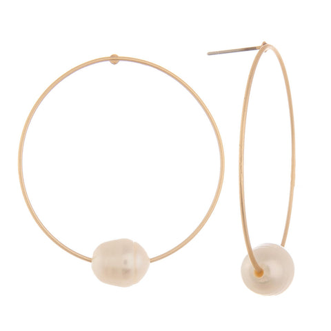 Sydney Good Hoop Earrings - Pearl