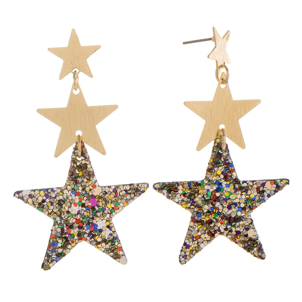 Franny Gold & Sparkle Star Earrings - Multi