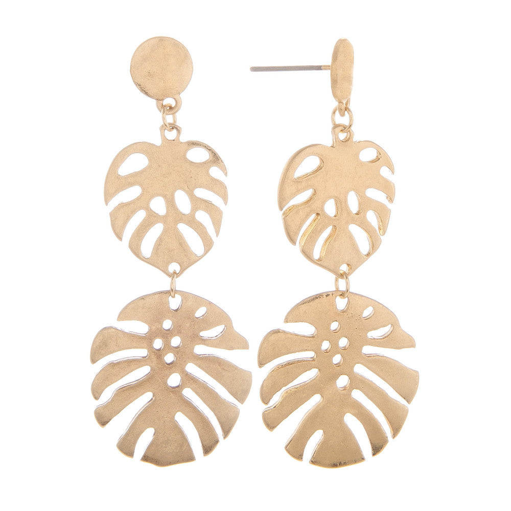 Neely Gold Palm Leaf Earrings