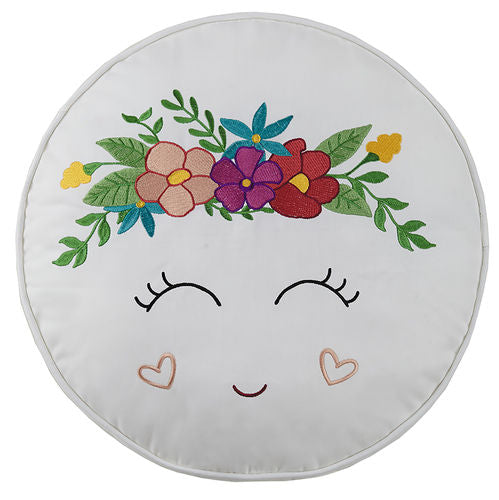 Happy Face Round Embroidered Pillow