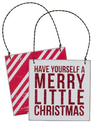 Have Yourself A Merry Little Christmas Wooden Glitter Hanger