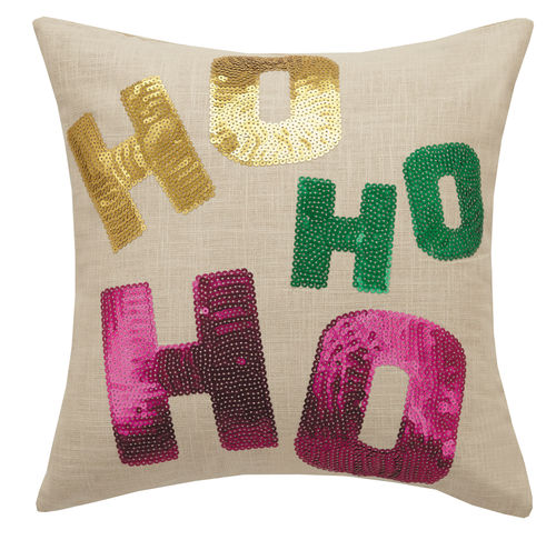 Ho Ho Ho Sequin Pillow