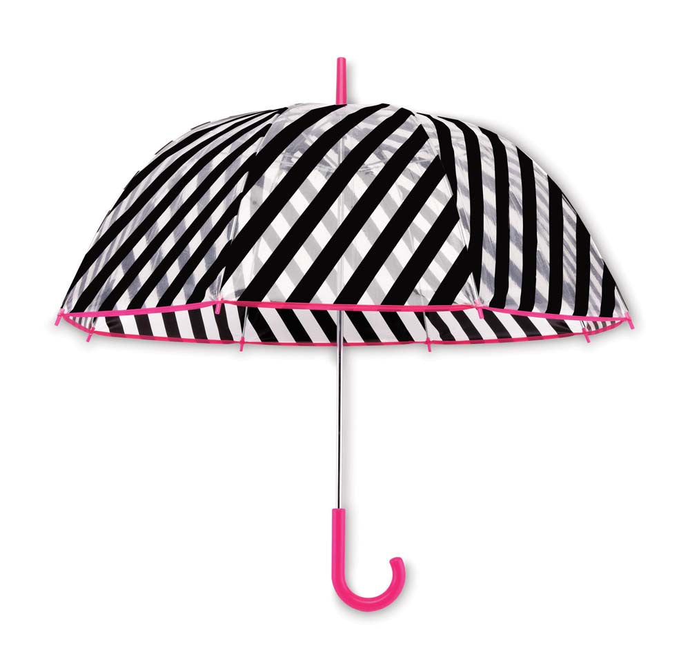 Kate Spade Clear Umbrella - Black Stripe