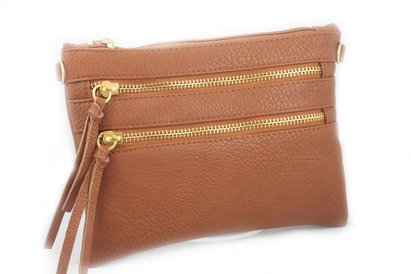 Camel Double Zipper Crossbody