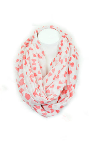 Heart Confetti Infinity Scarf - Coral