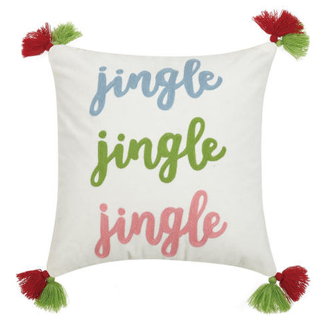 Jingle Jingle Jingle Crewel Tassel Pillow