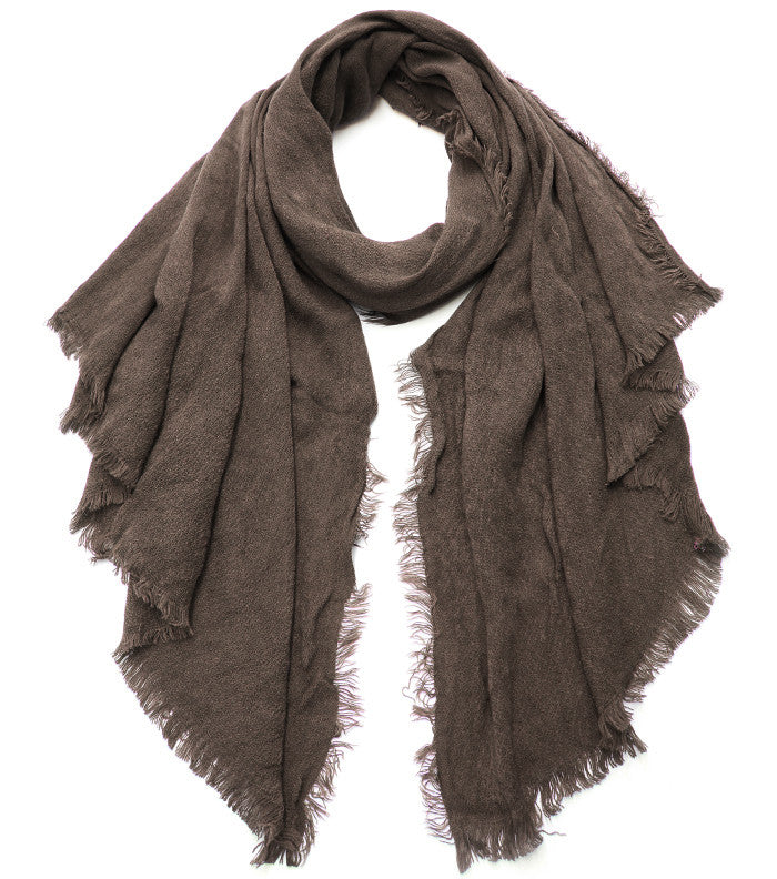 Fun Frayed Scarf - Dark Taupe