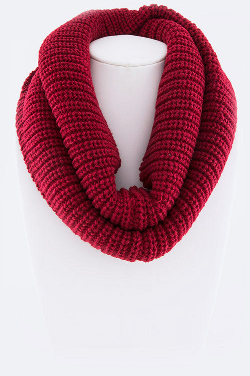 Ribbed Infinity Scarf - Burgandy