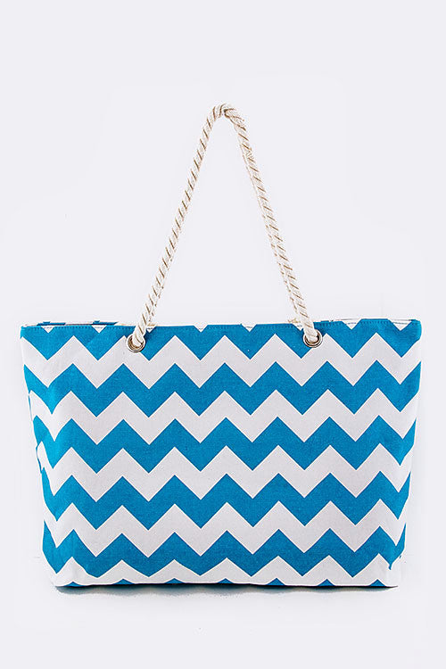 Large Chevron Tote w/  Zipper - Blue