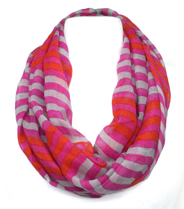 Fuchsia Striped Infinity Scarf