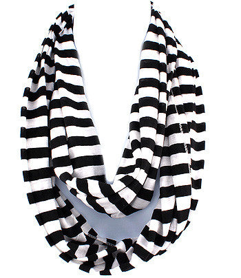 Black & White Striped Infinity Scarf