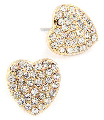 Crystal Pave Heart Studs - Silver OR Gold