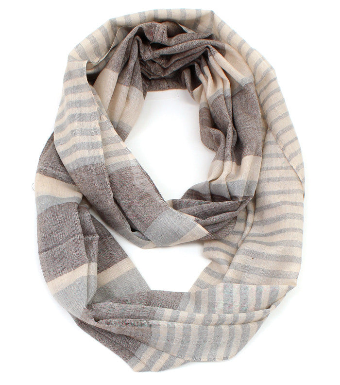 Light-Toned Striped Inifinity Scarf